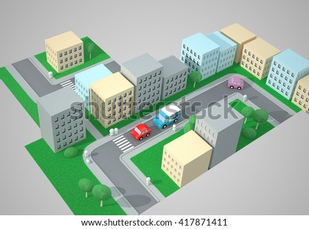 City Top View. Street Traffic. The Three-dimensional City Map with Streets, Buildings, Cars, Pedestrians and Pedestrian Crossings, Zebra Crossings. Digitally Generated Image. Rendering in 3D Program - stock photo