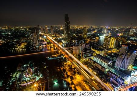 City town at night, Bird eyes view, Bangkok, Thailand - stock photo