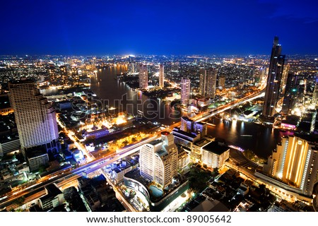 City town at twilight, View Point on a Sky Bar at Sirocco, Bangkok, Thailand - stock photo
