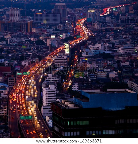 City traffic in Bangkok, topview.