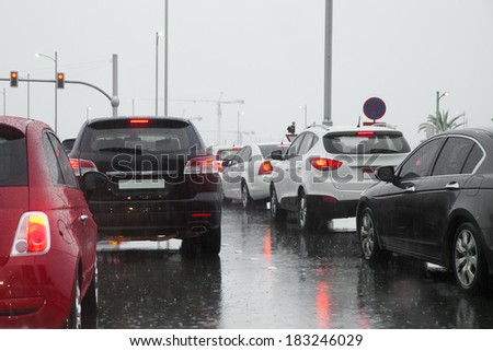 City traffic jam in a rainy day