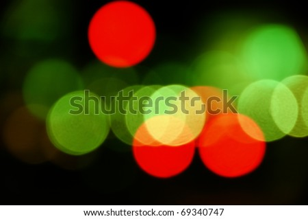 City traffic lights at night. Abstract blurry circles background. - stock photo