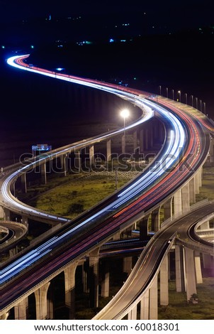 City traffic with high way in night in Taiwan, Asia. - stock photo