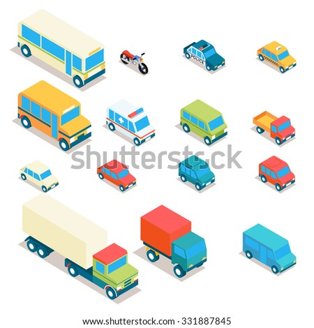City transport and trucks icons - stock photo
