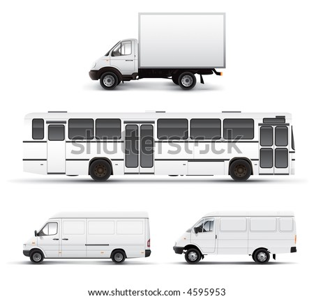 City transport bus truck car grayscale template - stock photo
