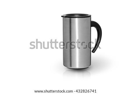 city travel coffee steel mug isolated on white - stock photo