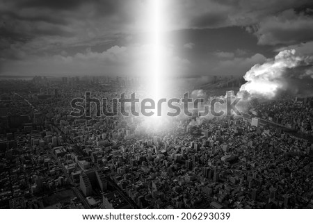 city under attack - stock photo