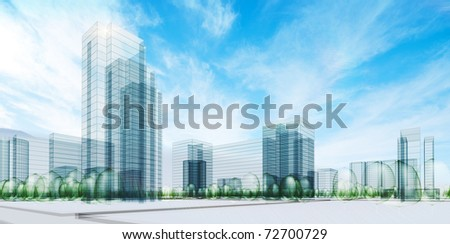 City under sky - stock photo