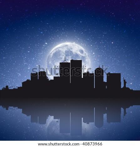 City under the moonlight - stock photo