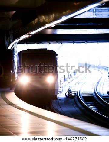 city underground metro station vertical shot - stock photo