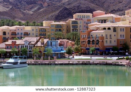 City view across the water of Lake Las Vegas. - stock photo