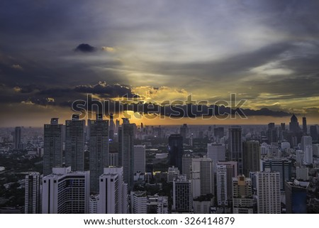 city view from highest point in Bangkok at sunset time