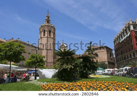 City view from old Valencia, Spain - stock photo