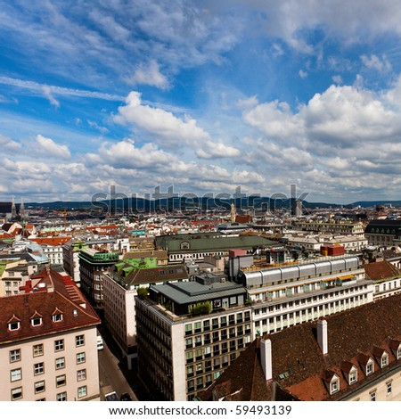 City view from St. Stephan cathedral roof, Vienna, Austria
