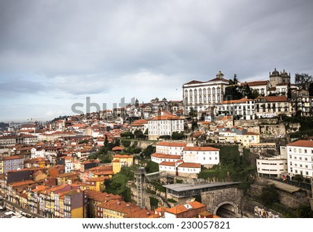 City view from the railway bridge. Porto, Portugal - stock photo