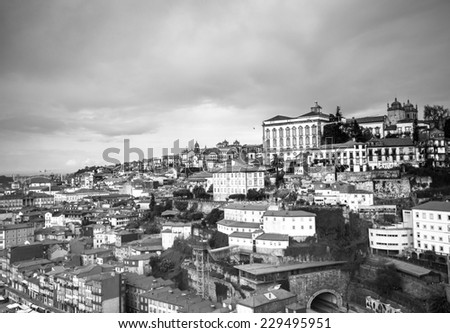 City view from the railway bridge. Porto, Portugal. Black and white image - stock photo