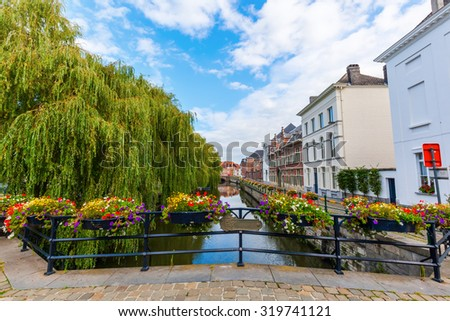 city view in the old town of Ghent, Belgium - stock photo