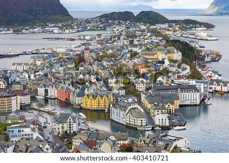 City view of Alesund in Norway - stock photo