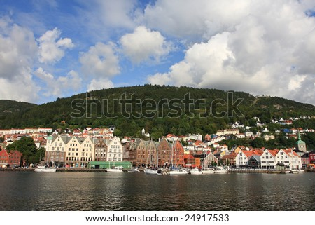 city view of Bergen, summer holiday resort