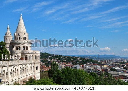 City view of Budapest from Fisherman's Bastion on Buda's castle hill, Hungary - stock photo