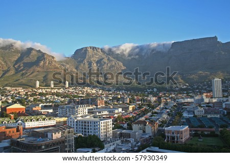 City view of Cape Town ,South Africa with Table Mountain - stock photo