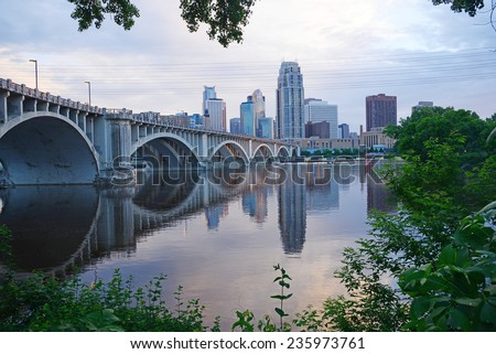 City view of Minneapolis in an evening
