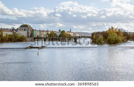 city view of Prague, the capital of the Czech Republic at autumn time