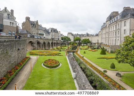 city view of Vannes, a commune in the Morbihan department in Brittany in north-western France