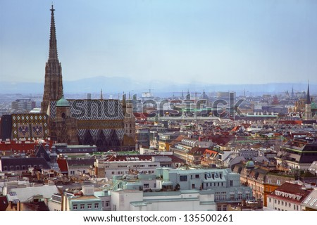 City view of Vienna with st. Stefan cathedral, roofs.