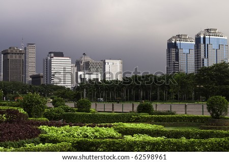City view skyline in Jakarta before a storm - stock photo