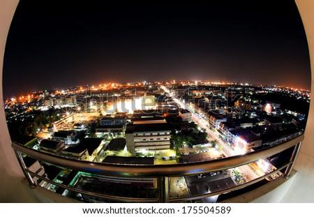 City view through fish-eye lens - stock photo