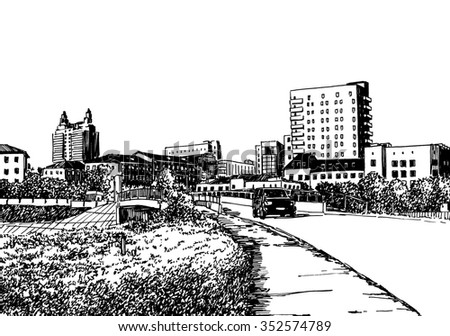 City view urban scene. Novosibirsk. Black and white dashed style sketch, line art, drawing with pen and ink. Retro vintage picture. - stock photo
