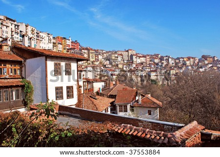 city view with old houses Veliko Turnovo Bulgaria - stock photo
