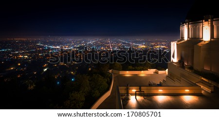 City viewed from an observatory, Griffith Observatory, Los Angeles, California, USA - stock photo