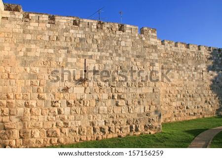 City wall of Old Jerusalem - stock photo