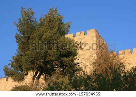 City wall of Old Jerusalem - Western wall, Jerusalem, Israel. - stock photo