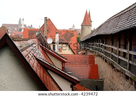 City wall of Rothenburg ob der Tauber, medieval old town in Germany - stock photo