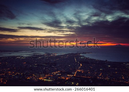 city with a night on the beach - stock photo
