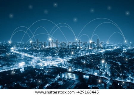 City with conncection line, technology conceptual, internet globalization concept - stock photo
