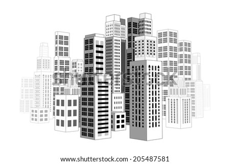 City with three-dimensional buildings and skyscrapers.  - stock photo