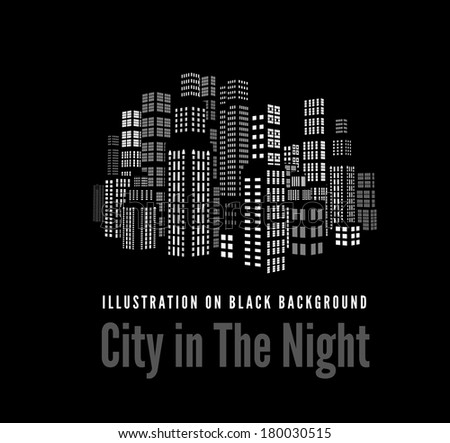 City with three-dimensional buildings and skyscrapers.   illustration on black background - stock photo