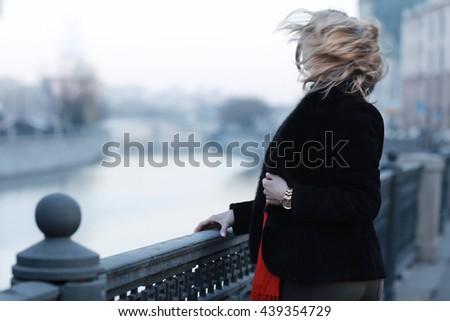 city woman's happiness - stock photo