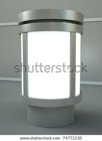 Citylight advertising pillar. 3D render. - stock photo