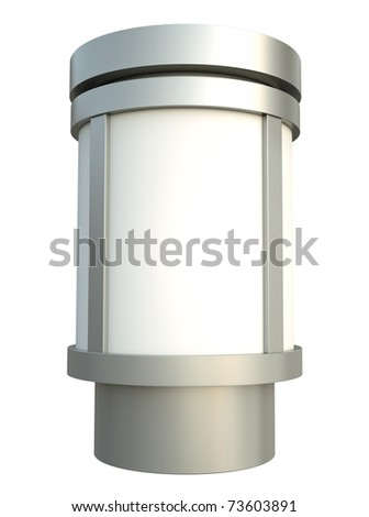 Citylight advertising pillar over white background. 3D render. - stock photo