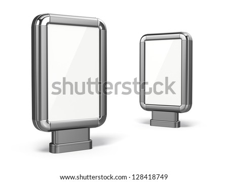 Citylight. Blank advertising billboard on white isolated background. 3d - stock photo