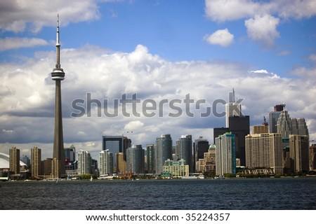 Cityline with Toronto CN Tower / cityscape - stock photo