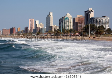 Cityscape and beach of Durban. - stock photo