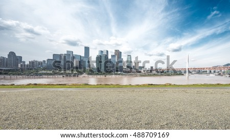 cityscape and skyline of chongqing from empty ground