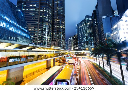 cityscape and traffic trails in modern urban city,Hongkong - stock photo
