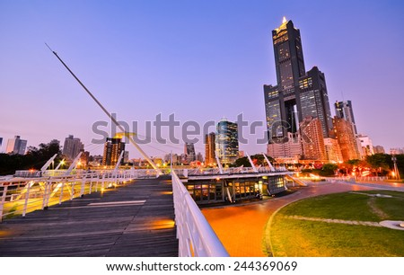 Cityscape at dusk in Kaohsiung, Taiwan. - stock photo